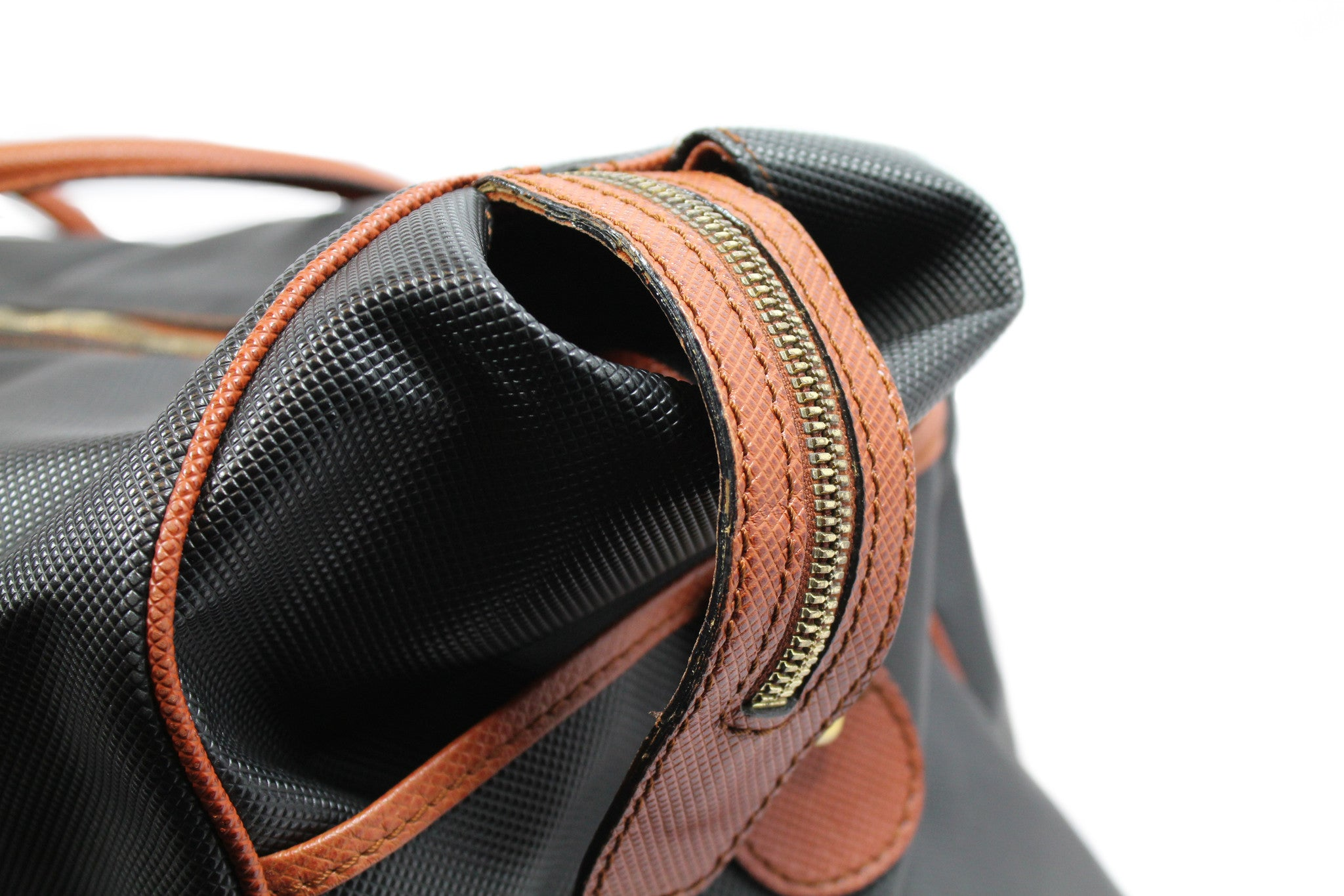 Bottega Veneta Black and Copper Leather Duffle Bag - Encore Consignment - 7