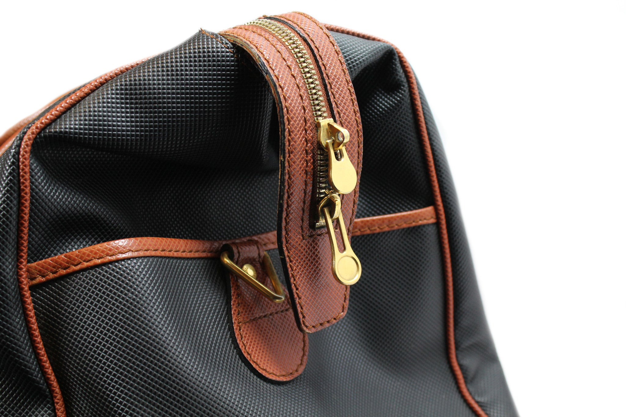 Bottega Veneta Black and Copper Leather Duffle Bag - Encore Consignment - 8
