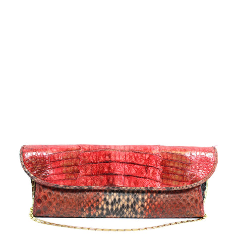 Carlos Falchi Red Snakeskin Clutch w/ Gold-tone Chain - Encore Consignment - 1