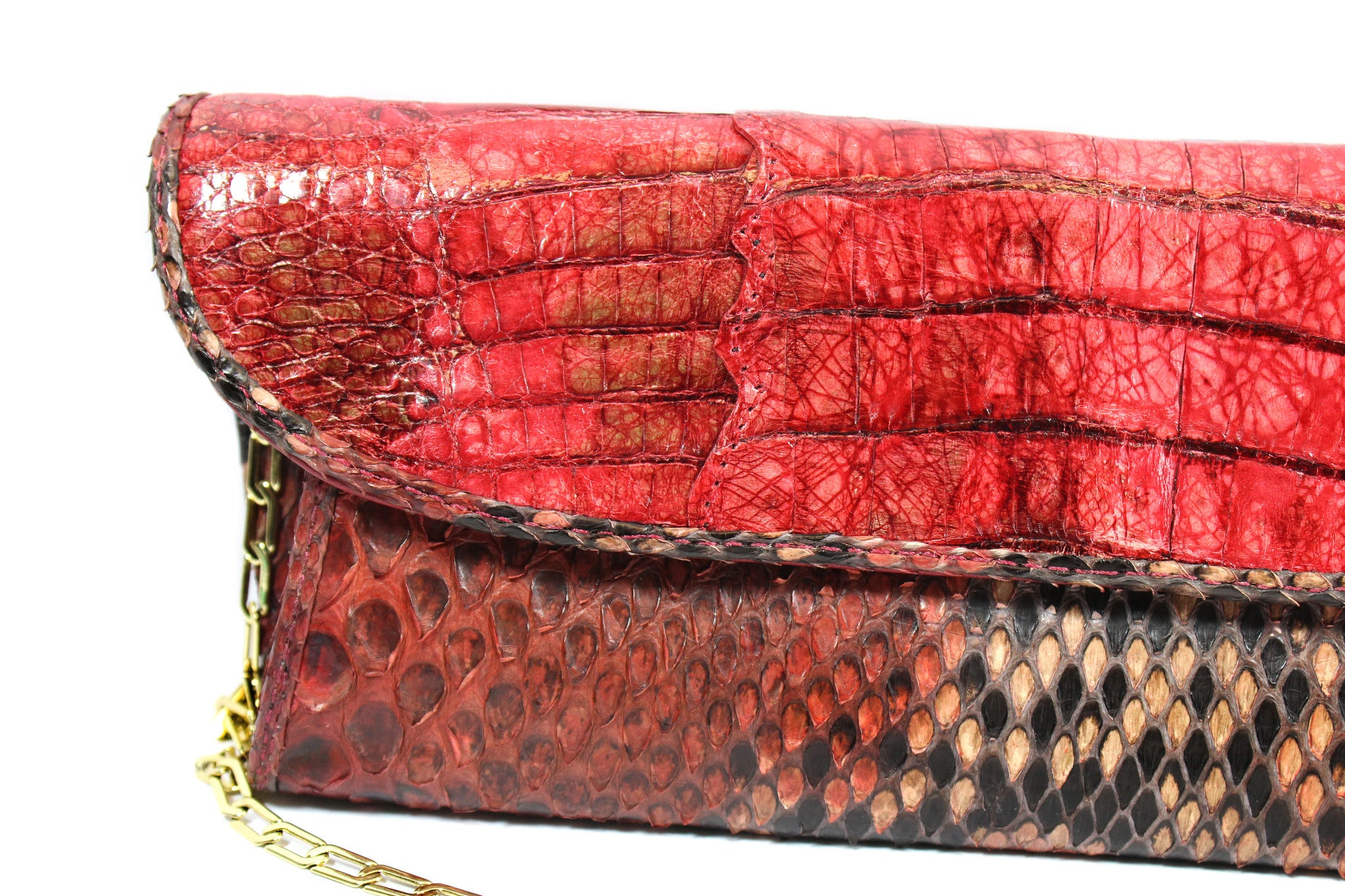 Carlos Falchi Red Snakeskin Clutch w/ Gold-tone Chain - Encore Consignment - 2