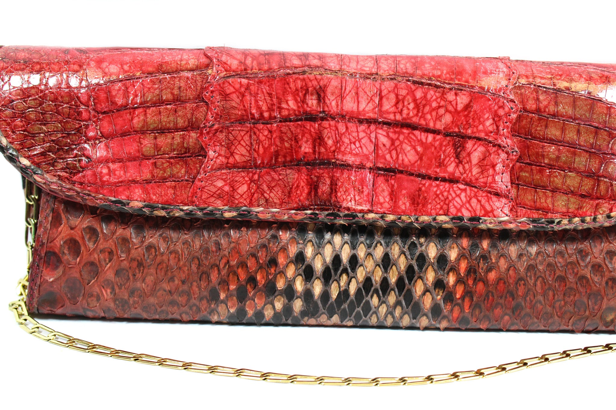 Carlos Falchi Red Snakeskin Clutch w/ Gold-tone Chain - Encore Consignment - 3