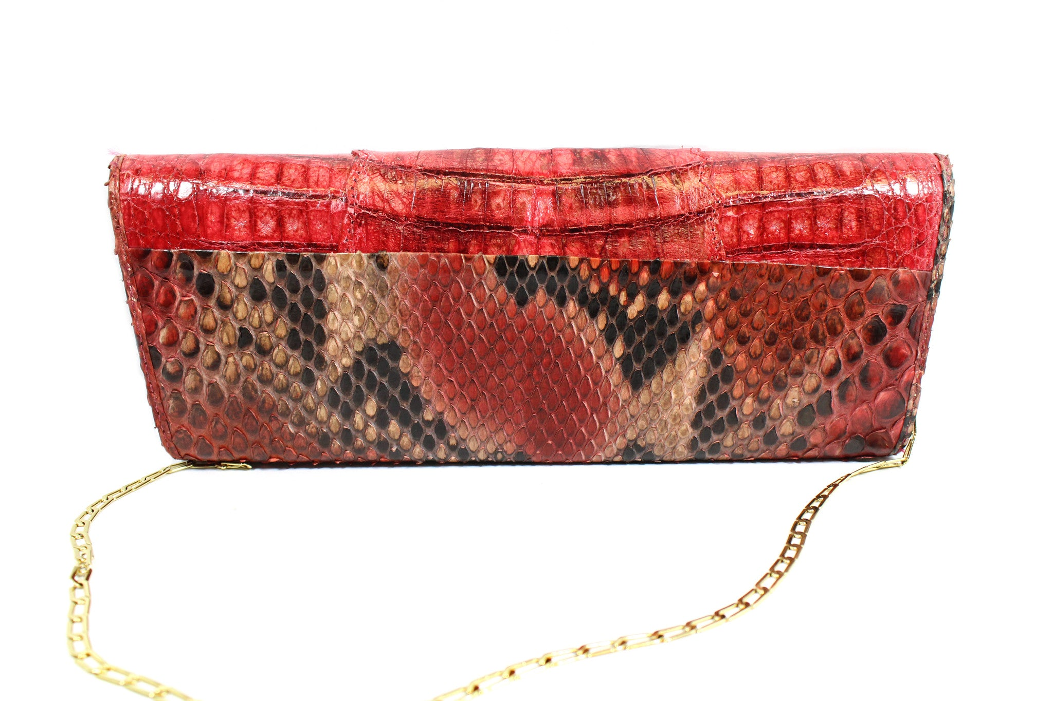 Carlos Falchi Red Snakeskin Clutch w/ Gold-tone Chain - Encore Consignment - 4