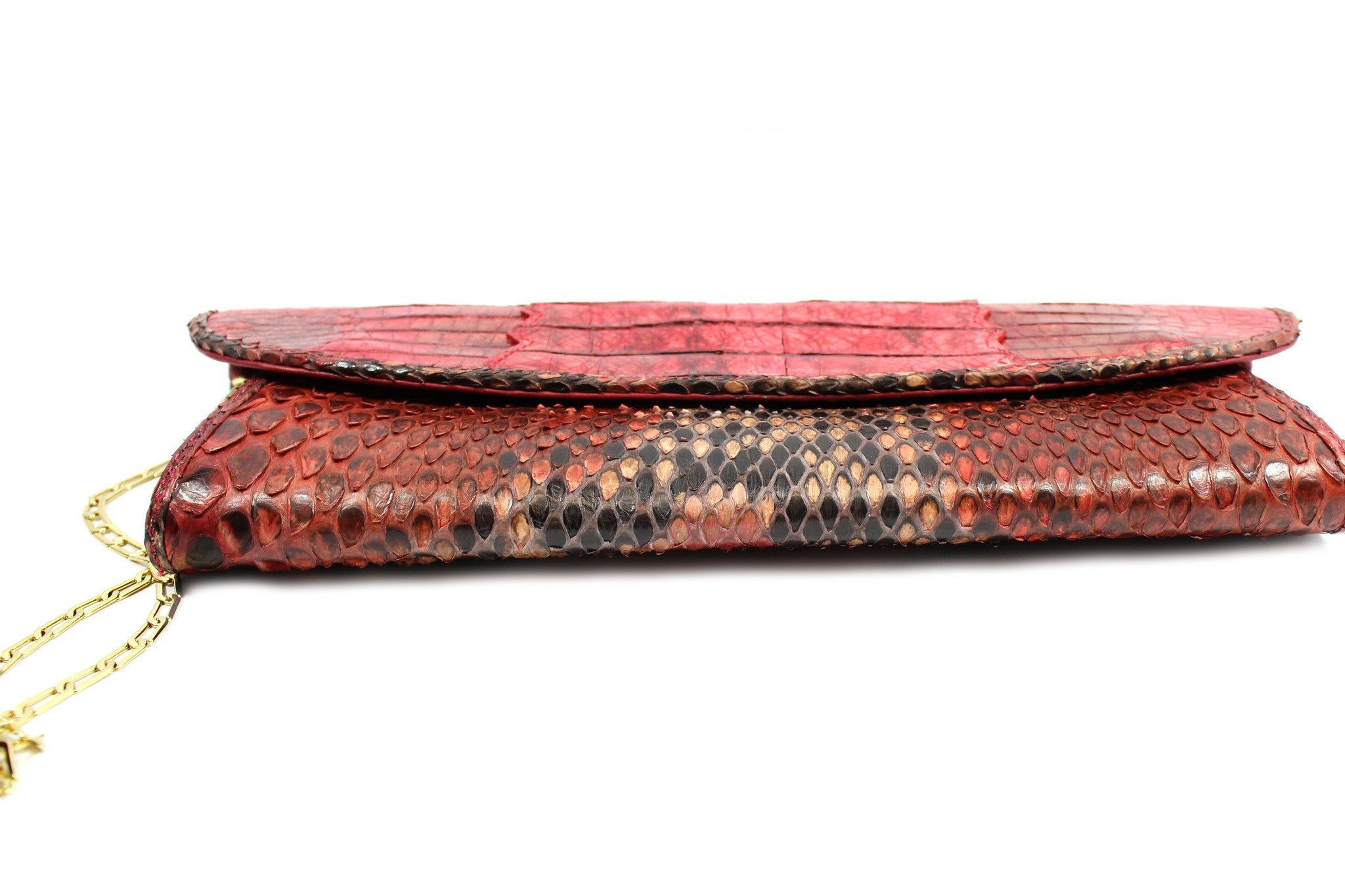 Carlos Falchi Red Snakeskin Clutch w/ Gold-tone Chain - Encore Consignment - 7