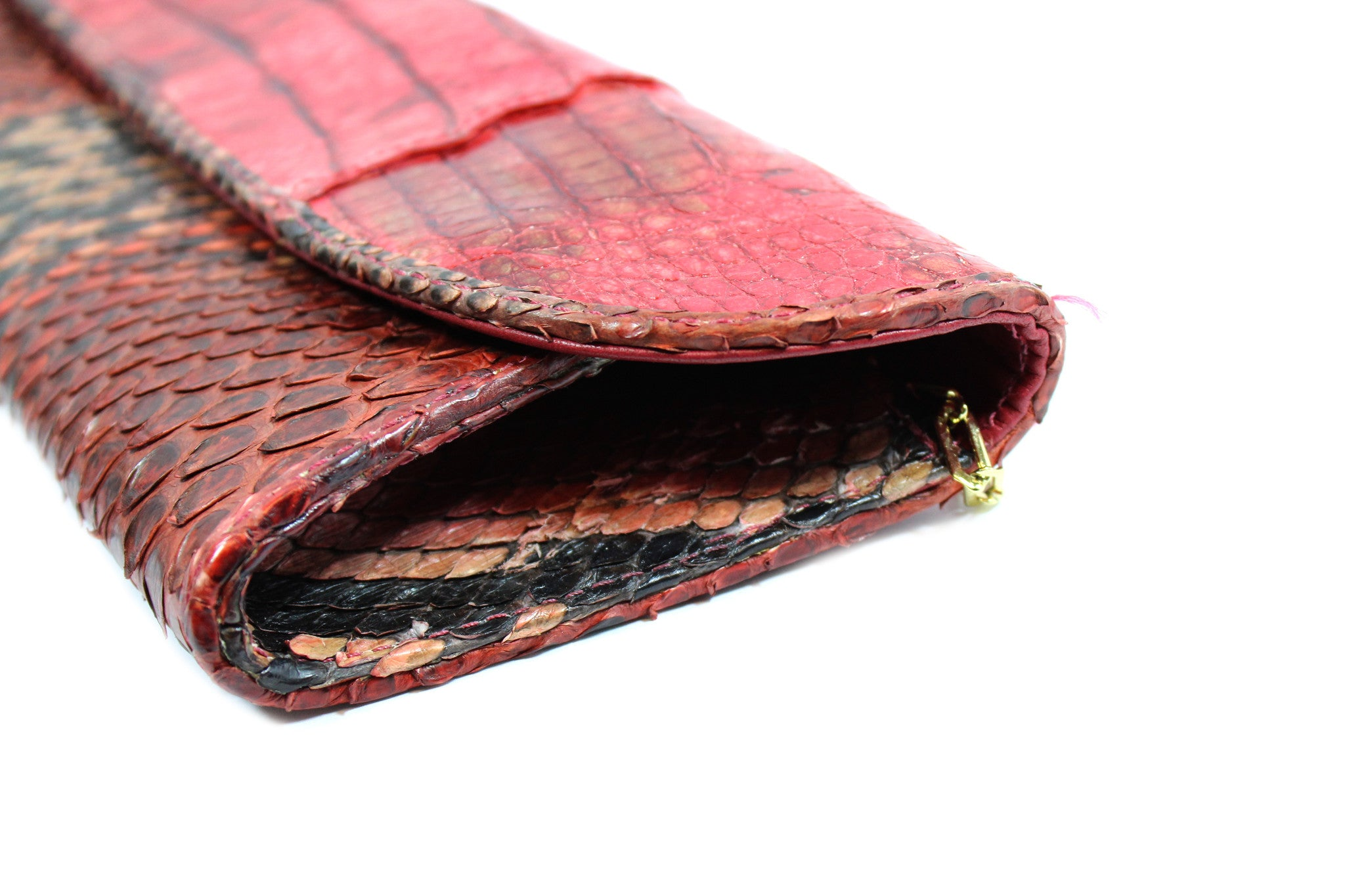 Carlos Falchi Red Snakeskin Clutch w/ Gold-tone Chain - Encore Consignment - 9