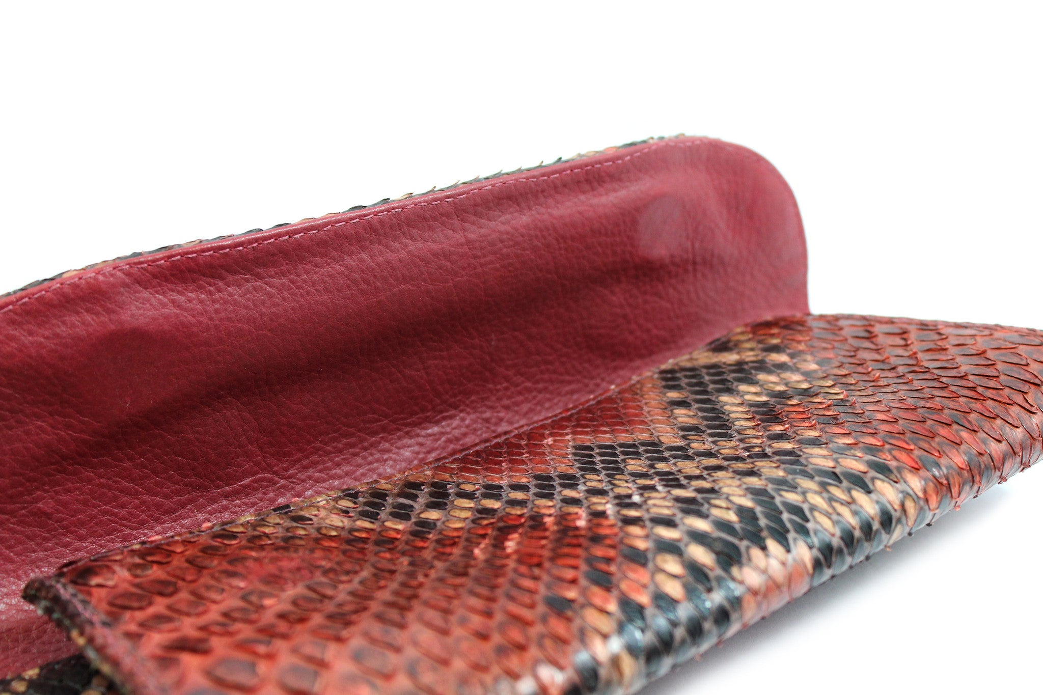 Carlos Falchi Red Snakeskin Clutch w/ Gold-tone Chain - Encore Consignment - 10