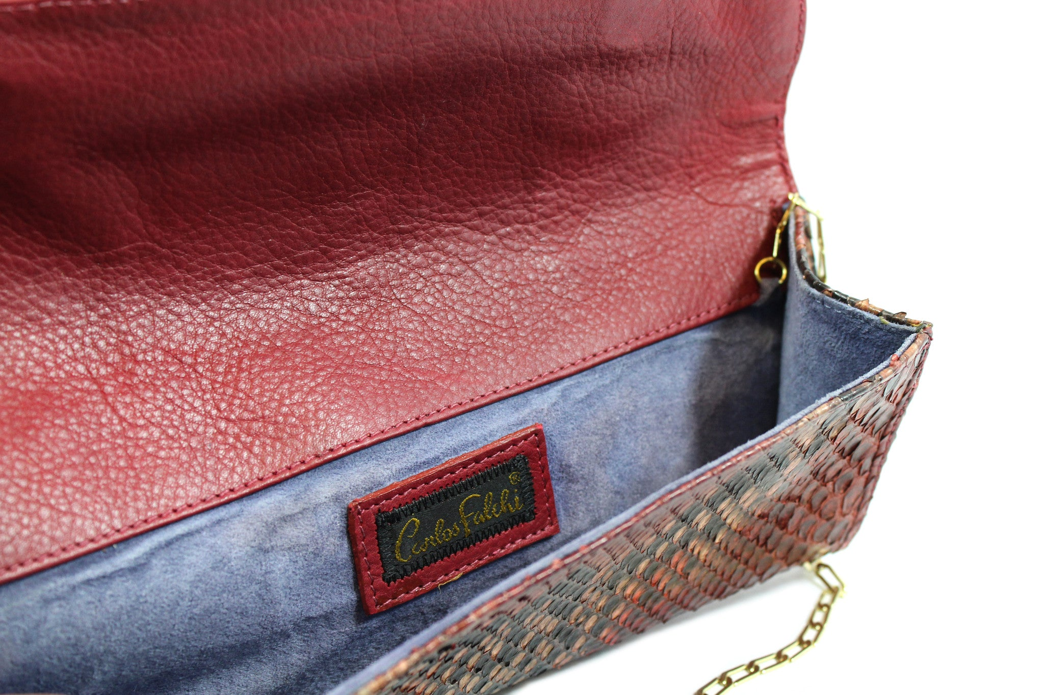 Carlos Falchi Red Snakeskin Clutch w/ Gold-tone Chain - Encore Consignment - 11