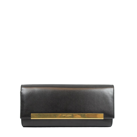 Saint Laurent 'Lutetia' Flap Calfskin Leather Clutch - Encore Consignment - 1