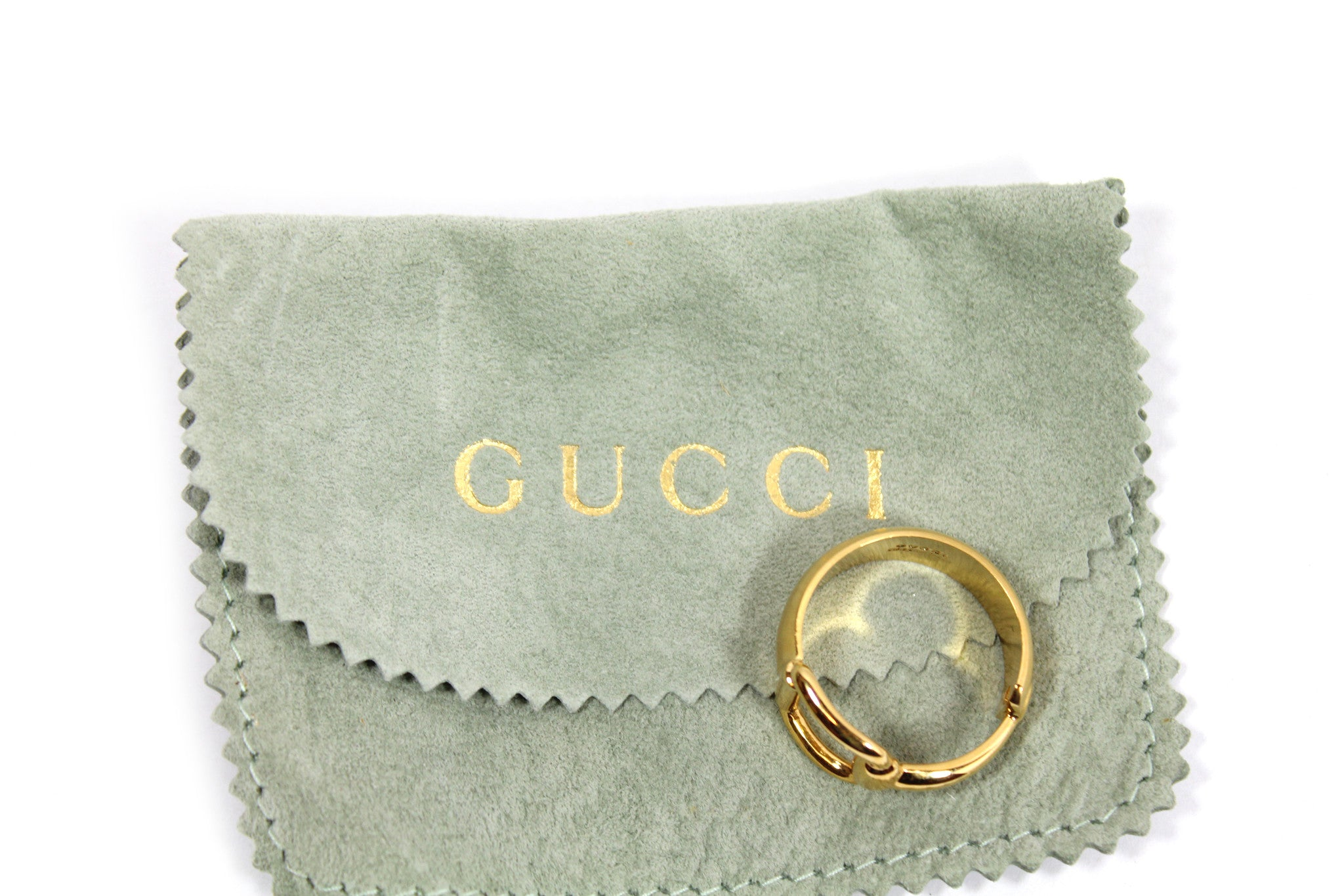 ~done~ Gucci Gold-tone Scarf Ring - Encore Consignment - 8