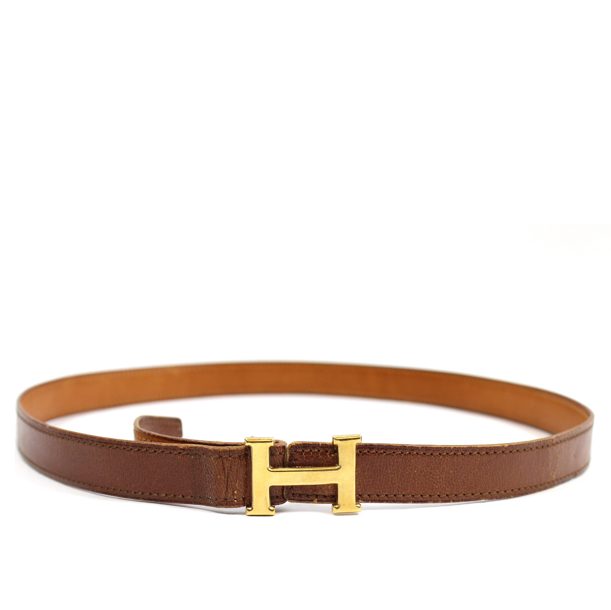 ~done~ Hermes Thin Brown Leather Belt w/ Gold Logo Buckle - Encore Consignment - 1