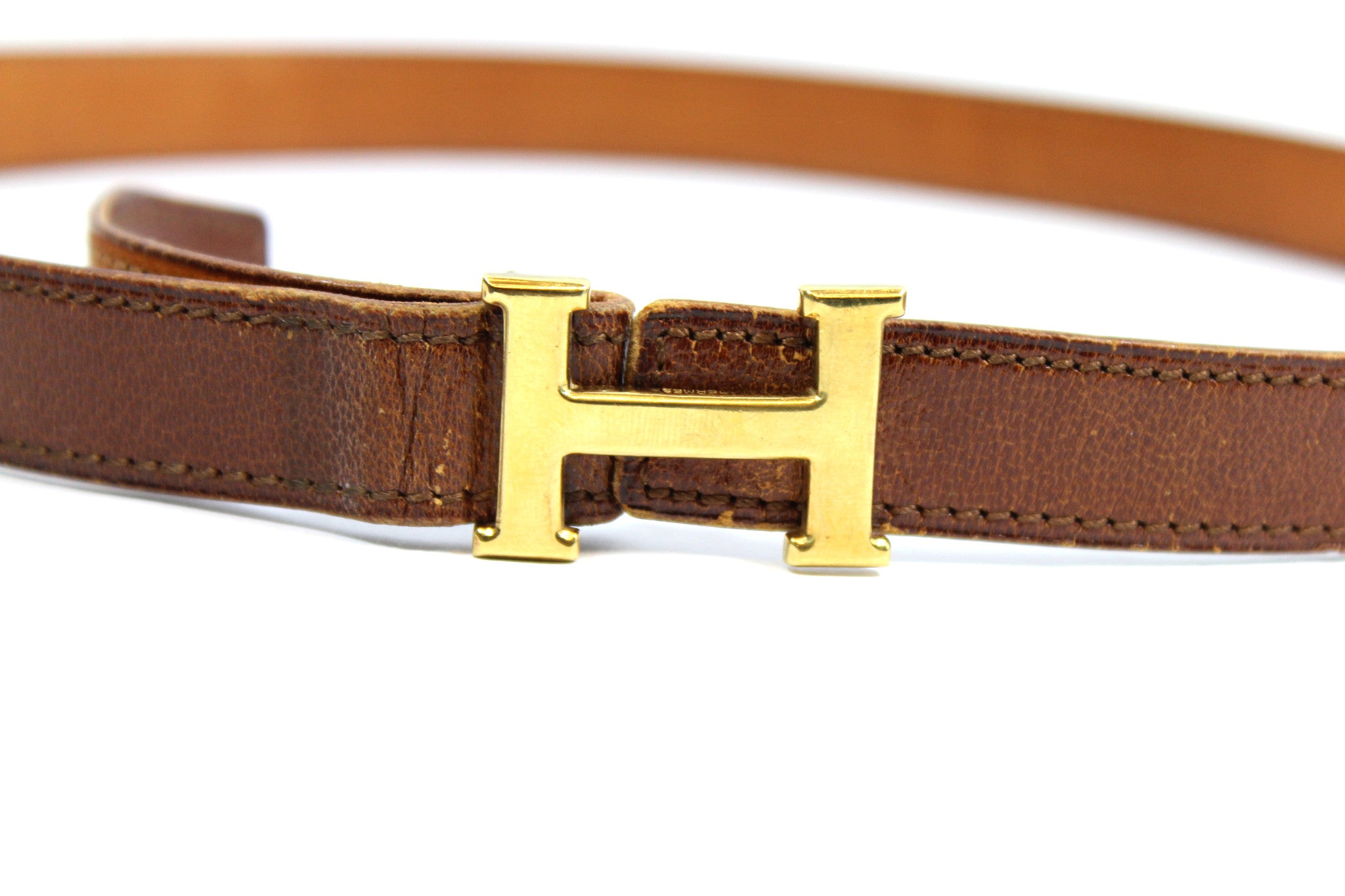 ~done~ Hermes Thin Brown Leather Belt w/ Gold Logo Buckle - Encore Consignment - 2