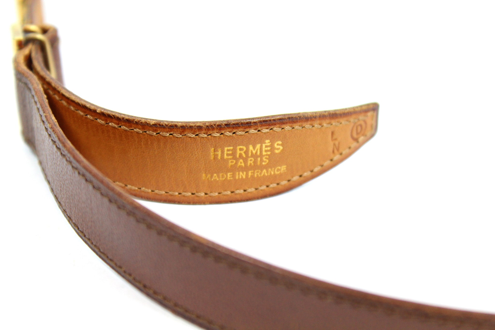 ~done~ Hermes Thin Brown Leather Belt w/ Gold Logo Buckle - Encore Consignment - 4