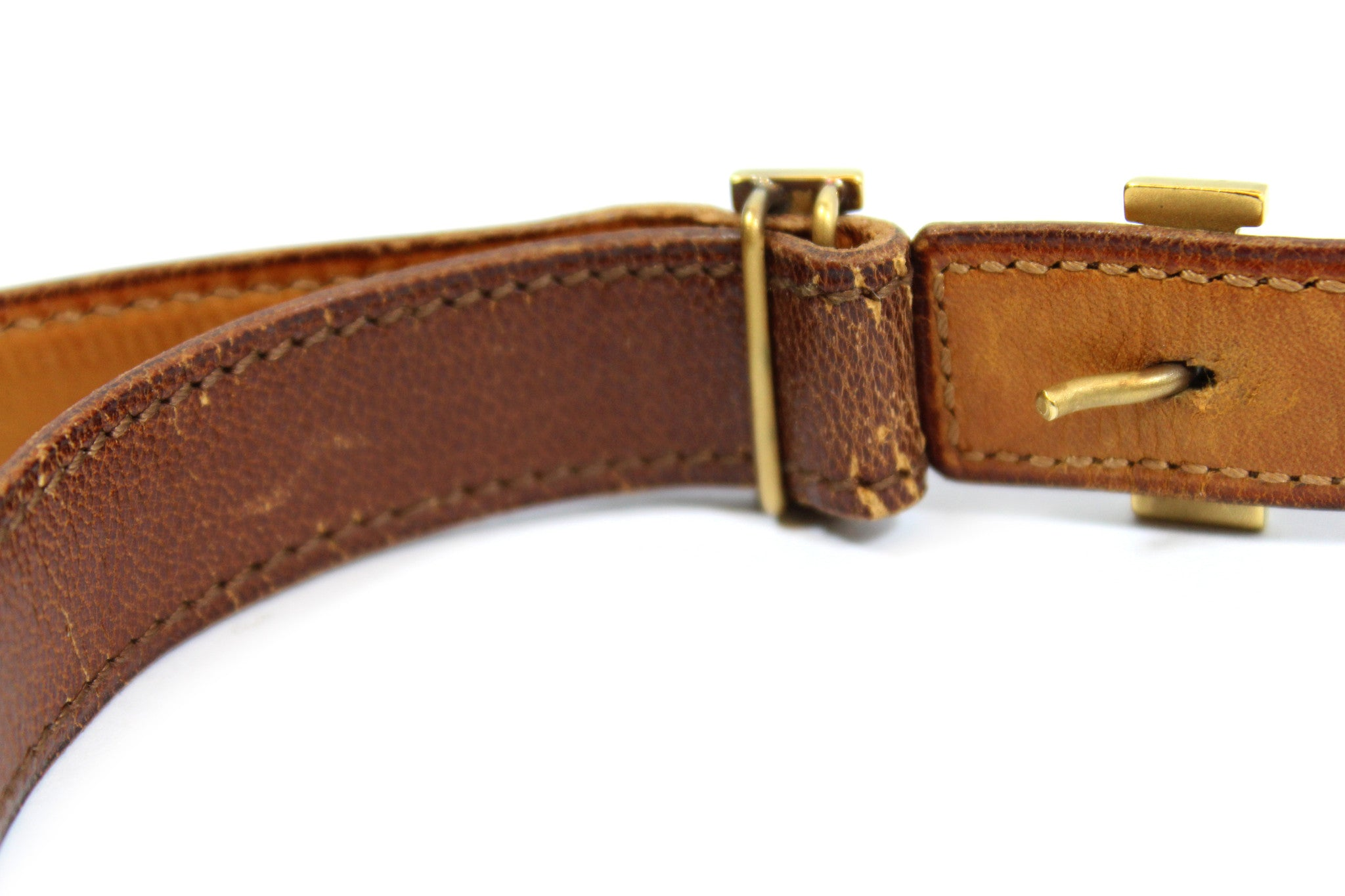~done~ Hermes Thin Brown Leather Belt w/ Gold Logo Buckle - Encore Consignment - 10