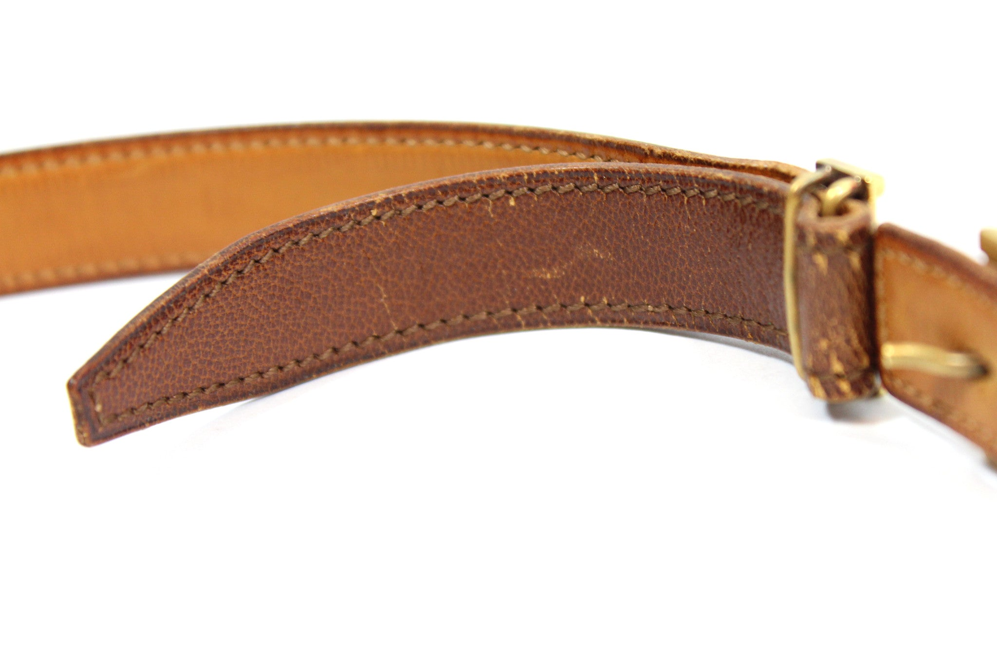 ~done~ Hermes Thin Brown Leather Belt w/ Gold Logo Buckle - Encore Consignment - 5