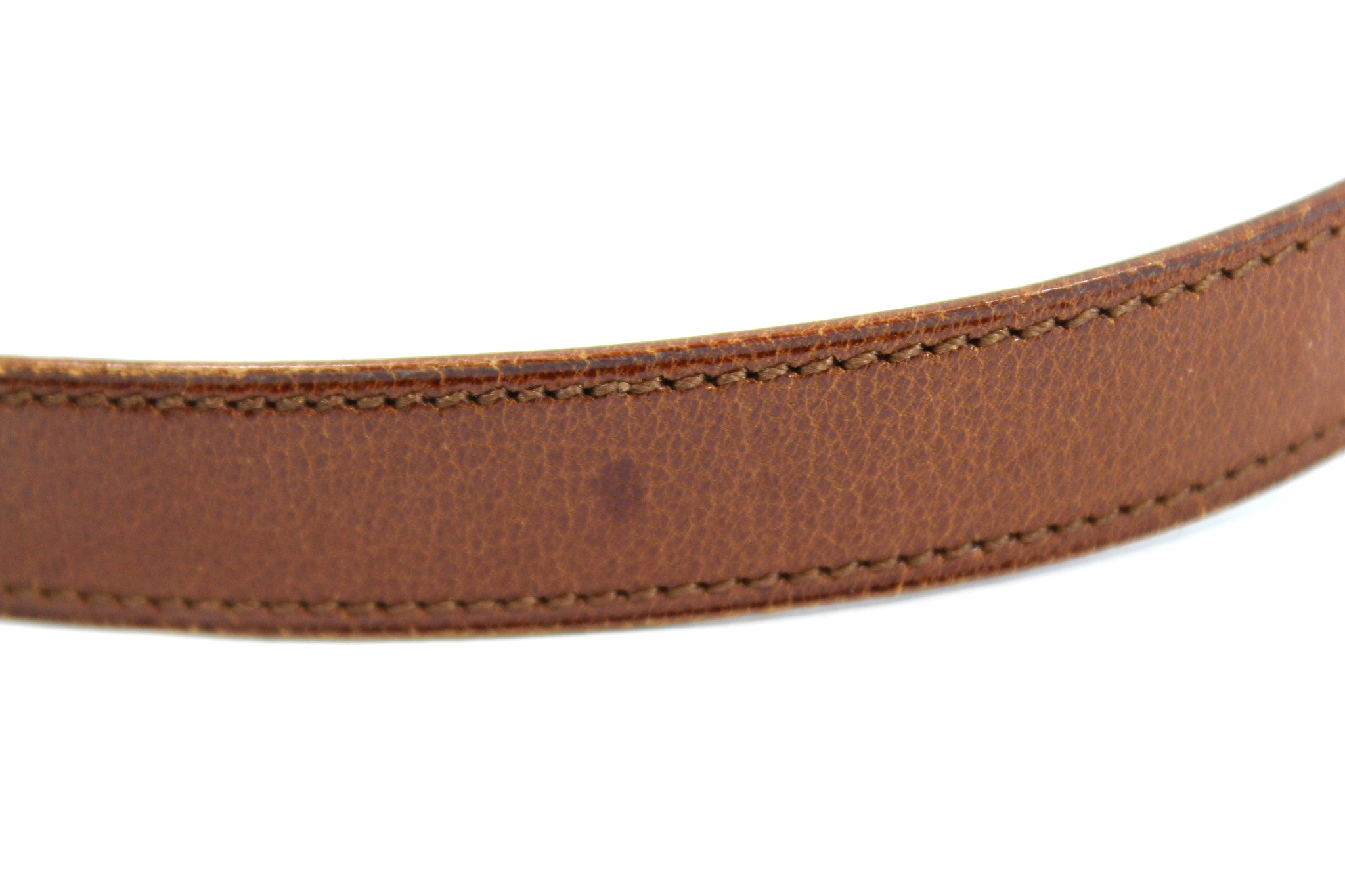 ~done~ Hermes Thin Brown Leather Belt w/ Gold Logo Buckle - Encore Consignment - 6