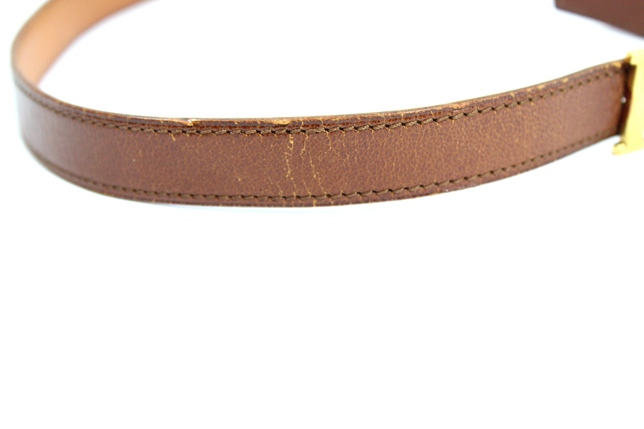 ~done~ Hermes Thin Brown Leather Belt w/ Gold Logo Buckle - Encore Consignment - 7