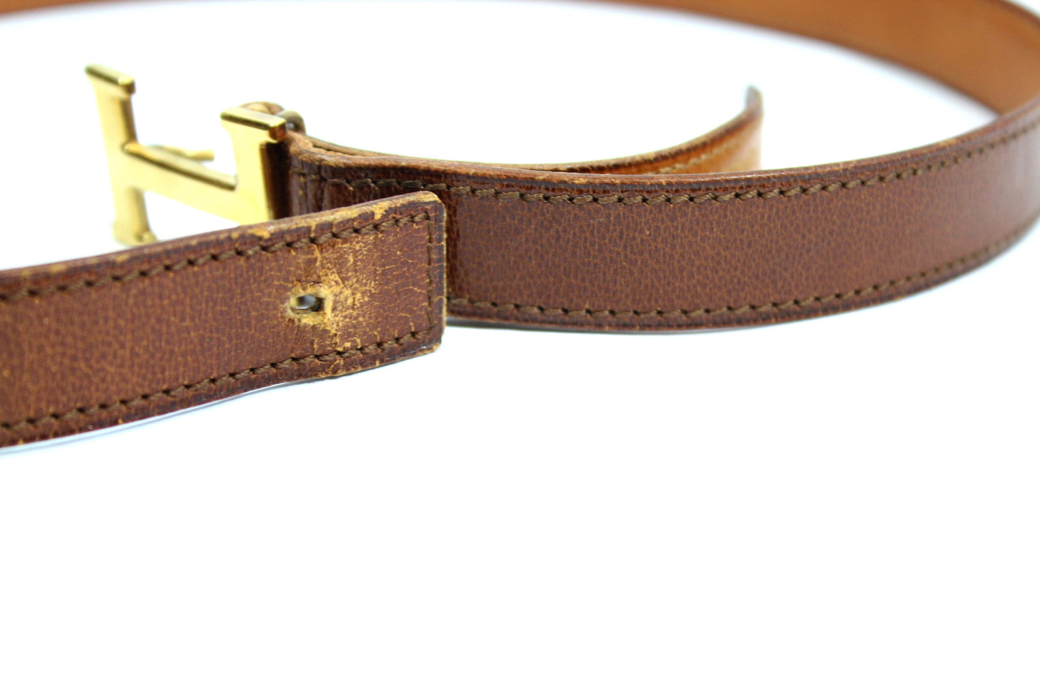 ~done~ Hermes Thin Brown Leather Belt w/ Gold Logo Buckle - Encore Consignment - 8