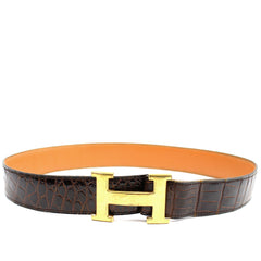 ~done~ Hermes Brown Crocodile Belt w/ Gold Logo Buckle - Encore Consignment - 1