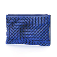 BAO BAO Issey Miyake Blue Oyster Zip Top Slim Canvas Leather Trim Pouch Clutch