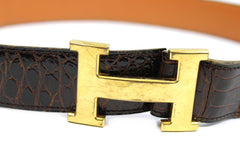 ~done~ Hermes Brown Crocodile Belt w/ Gold Logo Buckle - Encore Consignment - 3