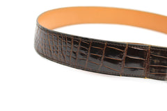 ~done~ Hermes Brown Crocodile Belt w/ Gold Logo Buckle - Encore Consignment - 6