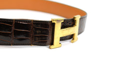 ~done~ Hermes Brown Crocodile Belt w/ Gold Logo Buckle - Encore Consignment - 4