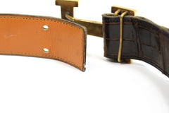 ~done~ Hermes Brown Crocodile Belt w/ Gold Logo Buckle - Encore Consignment - 9