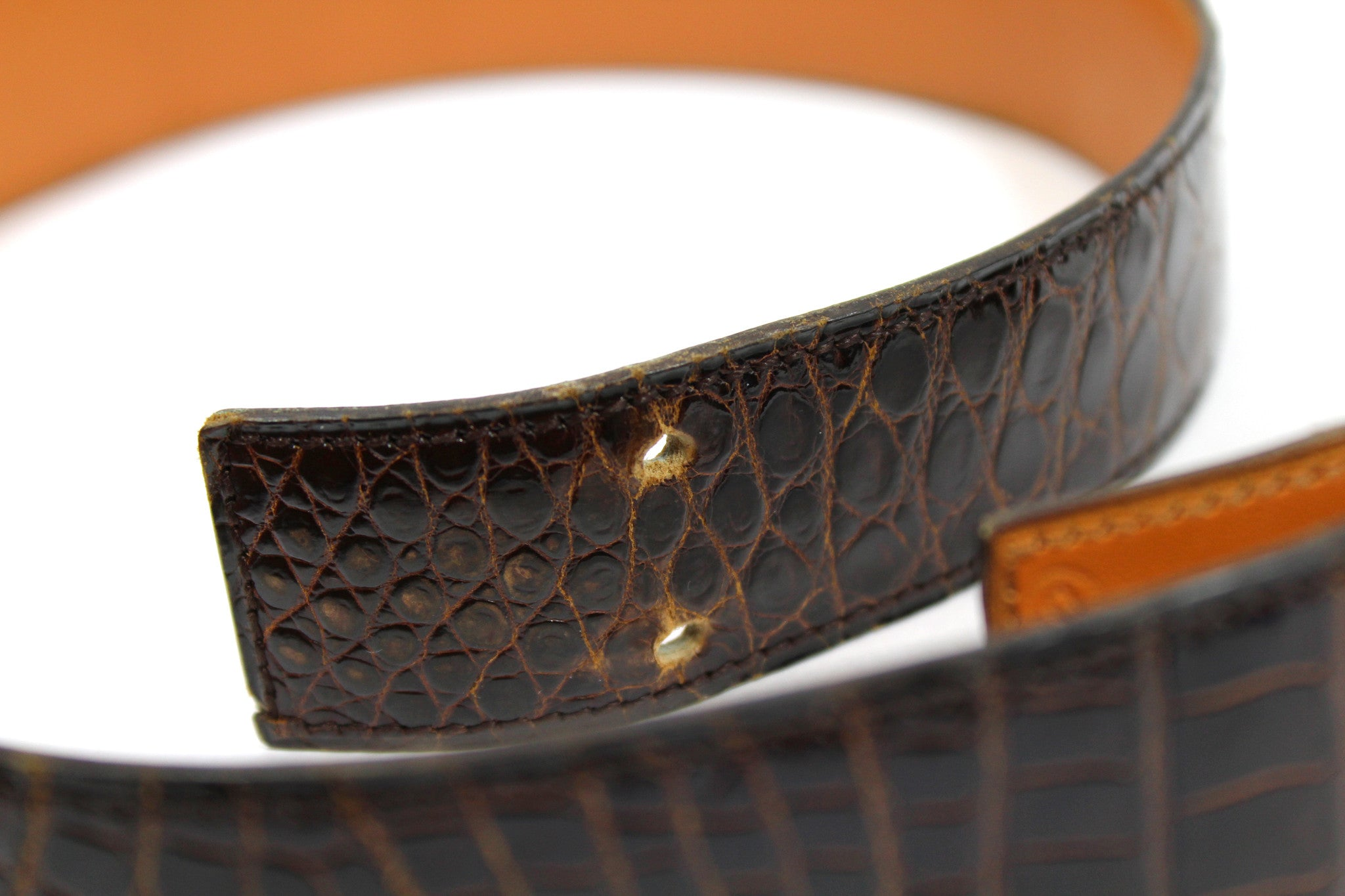 ~done~ Hermes Brown Crocodile Belt w/ Gold Logo Buckle - Encore Consignment - 7