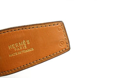 ~done~ Hermes Brown Crocodile Belt w/ Gold Logo Buckle - Encore Consignment - 8