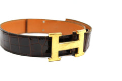 ~done~ Hermes Brown Crocodile Belt w/ Gold Logo Buckle - Encore Consignment - 2
