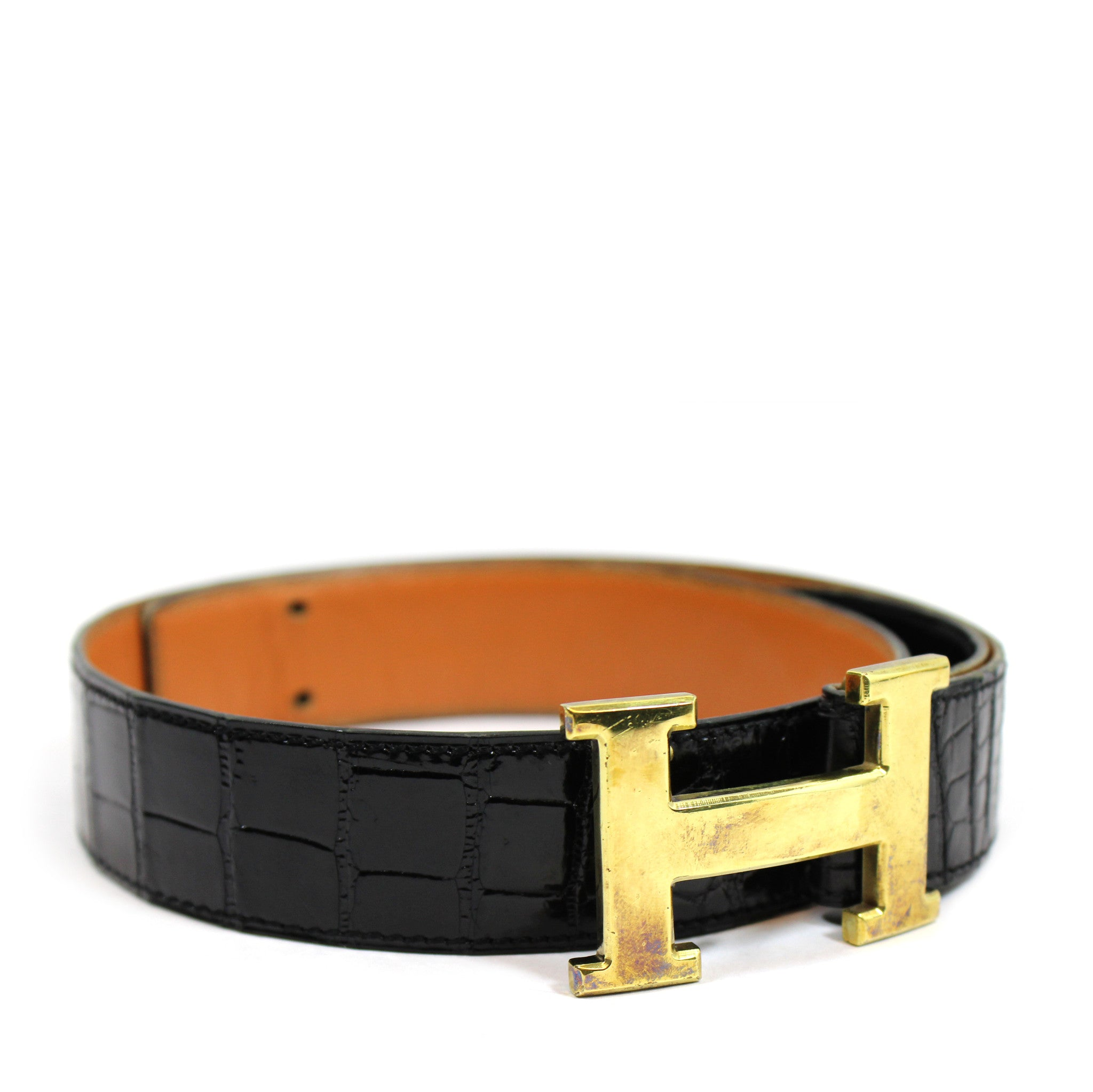 ~done~ Hermes Black Crocodile Belt w/ Gold Logo Buckle - Encore Consignment - 1