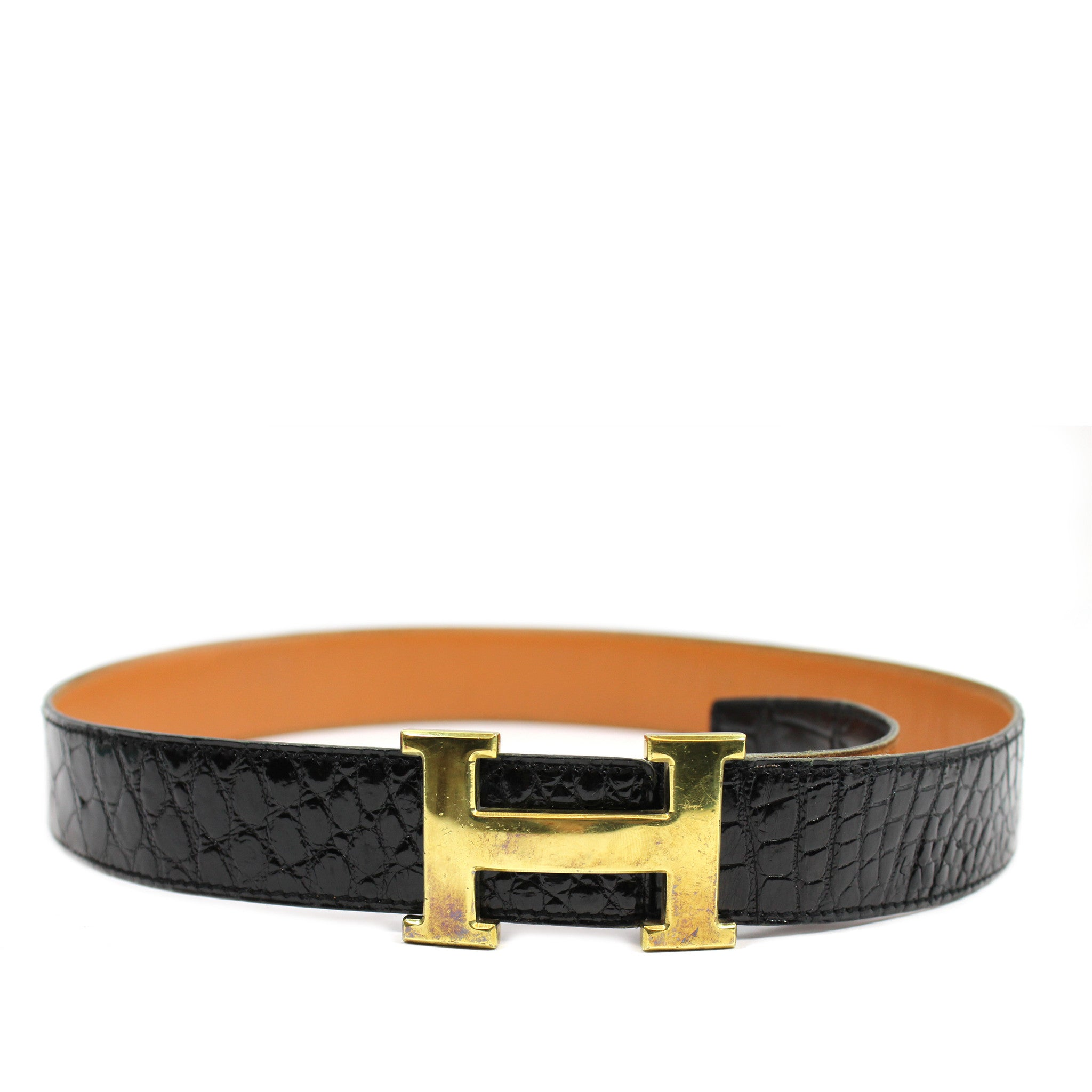 ~done~ Hermes Black Crocodile Belt w/ Gold Logo Buckle - Encore Consignment - 2