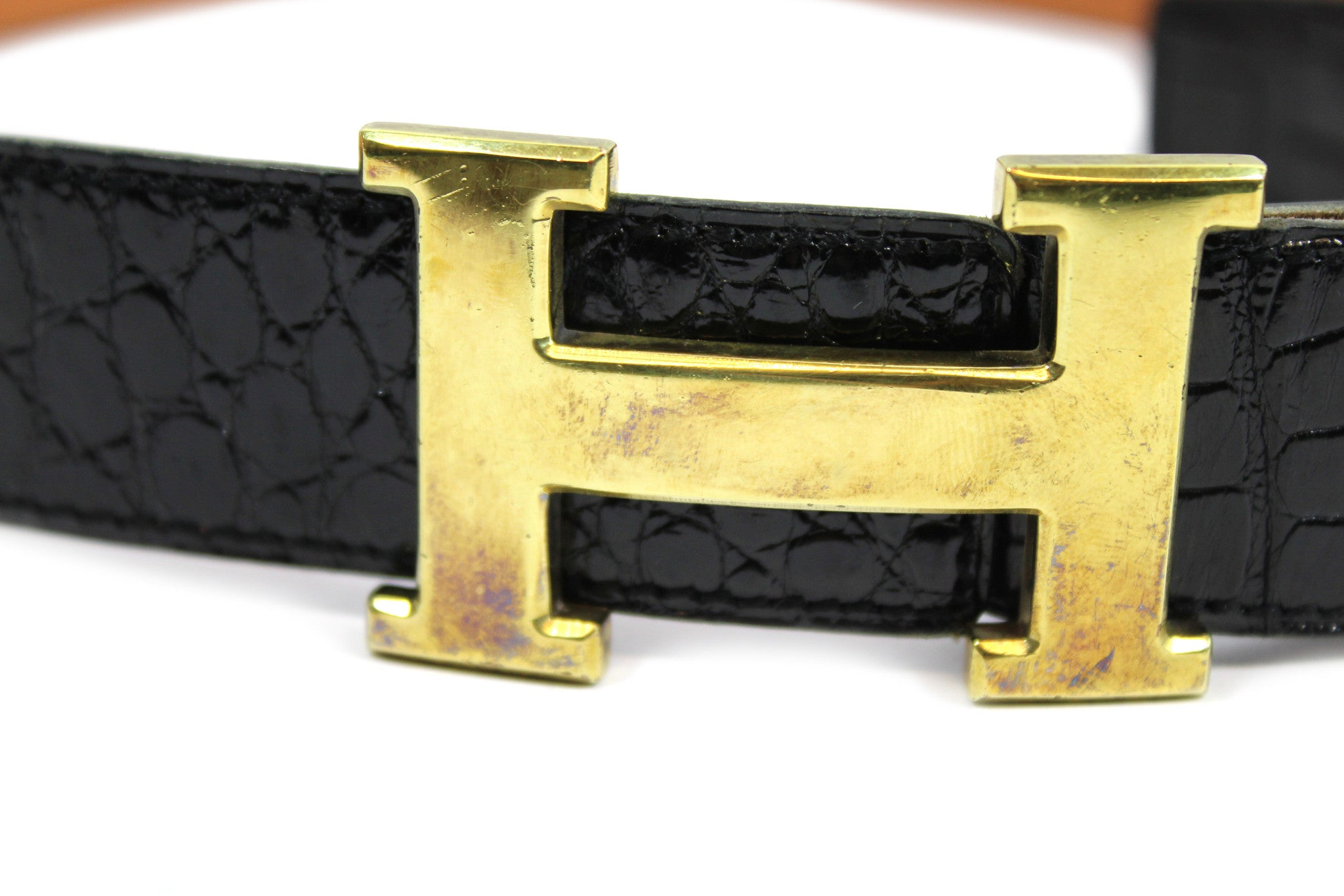 ~done~ Hermes Black Crocodile Belt w/ Gold Logo Buckle - Encore Consignment - 3