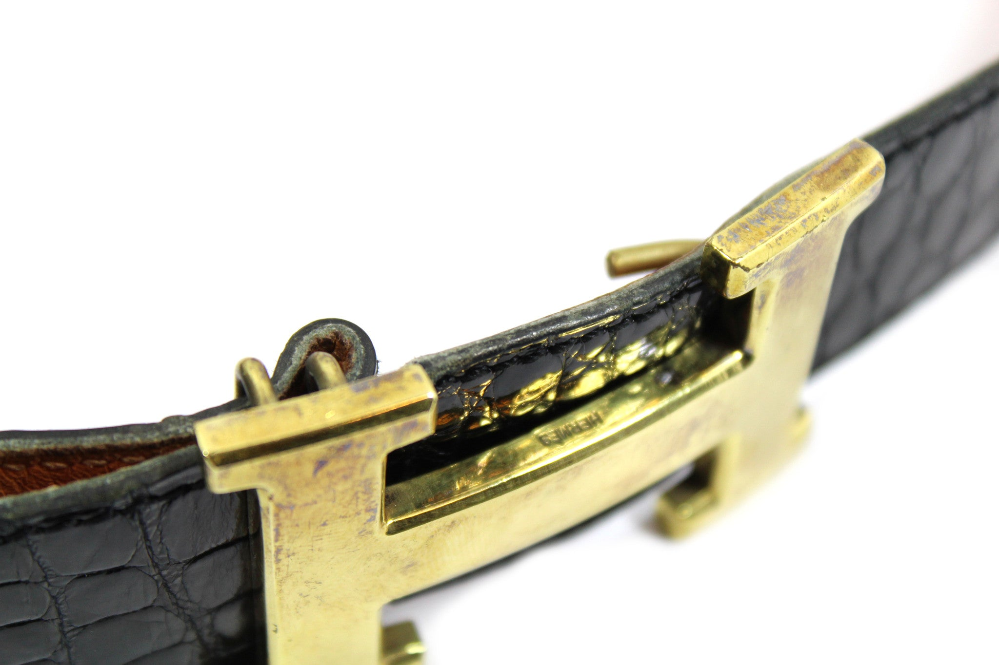 ~done~ Hermes Black Crocodile Belt w/ Gold Logo Buckle - Encore Consignment - 6