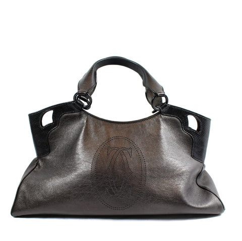 Cartier 'Marcello' Deep Brown Leather Handbag