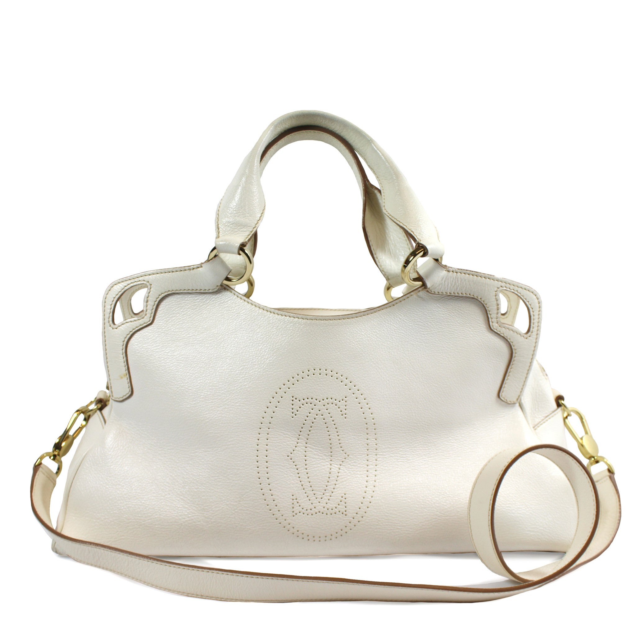Cartier 'Marcello' Cream Leather Handbag