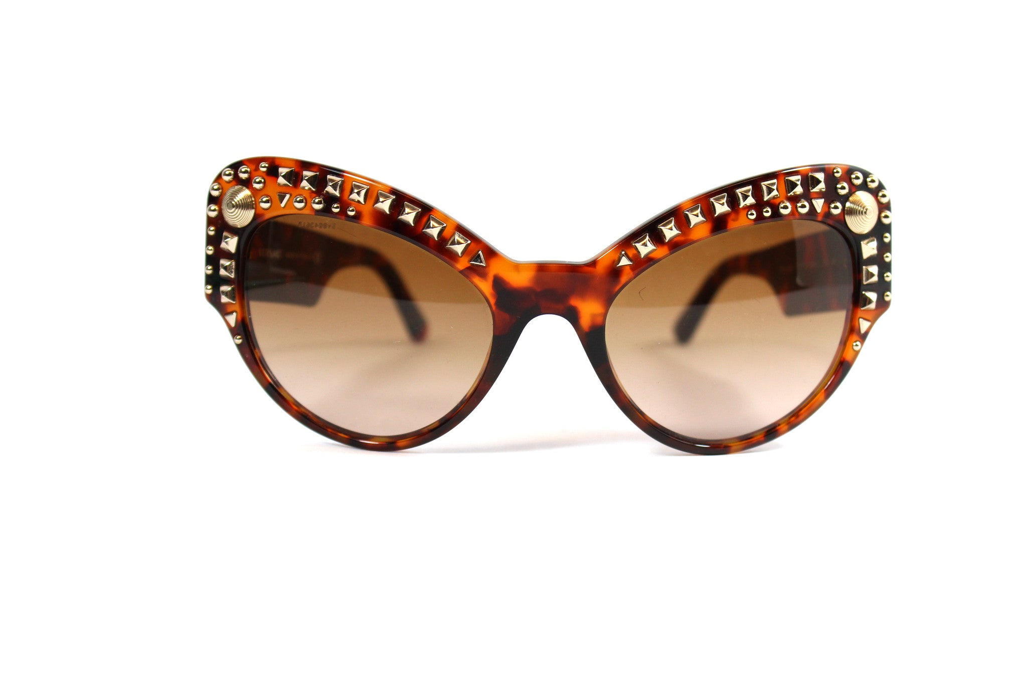 -done- Versace Round Tortoise Studded Glasses - Encore Consignment - 2