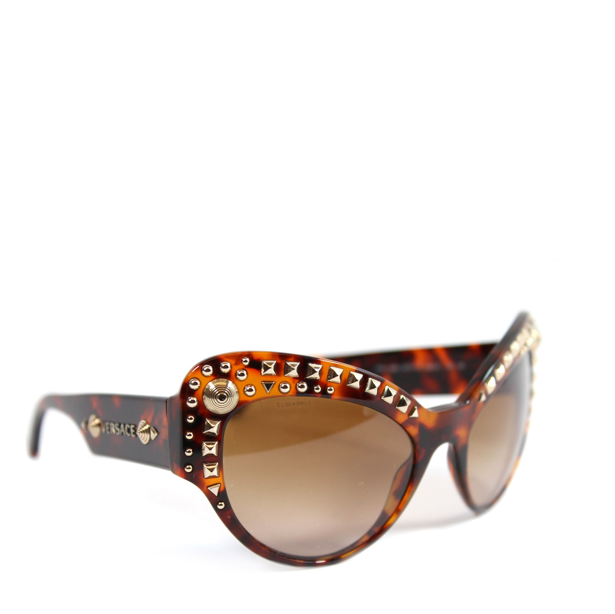 -done- Versace Round Tortoise Studded Glasses - Encore Consignment - 1