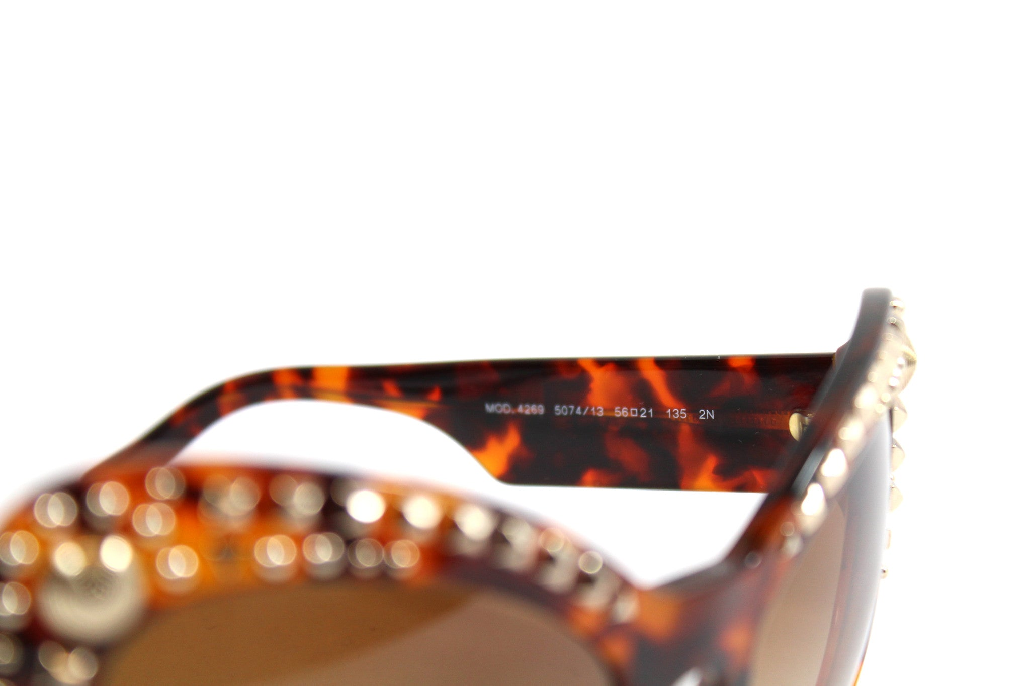 -done- Versace Round Tortoise Studded Glasses - Encore Consignment - 4