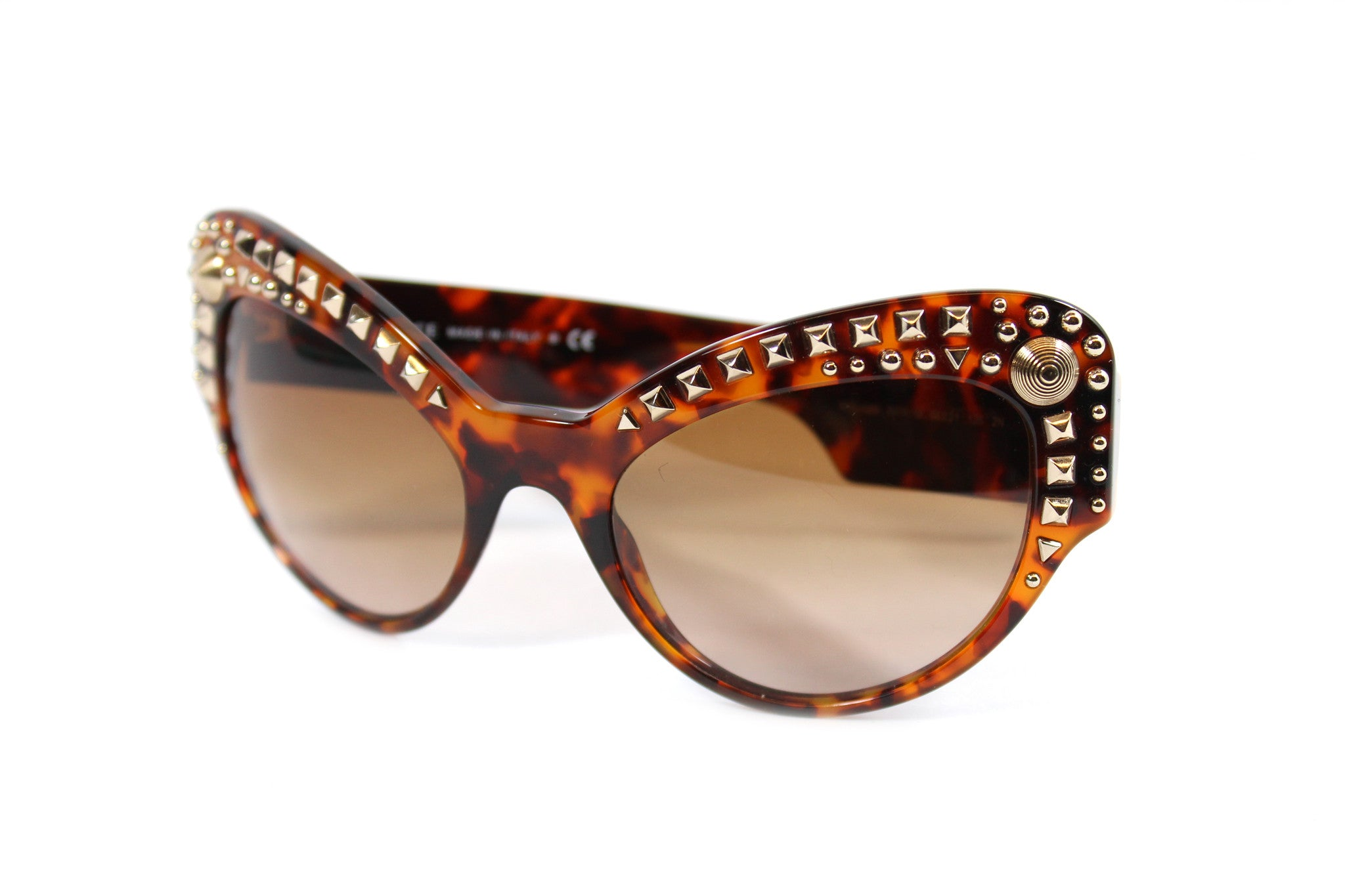 -done- Versace Round Tortoise Studded Glasses - Encore Consignment - 3