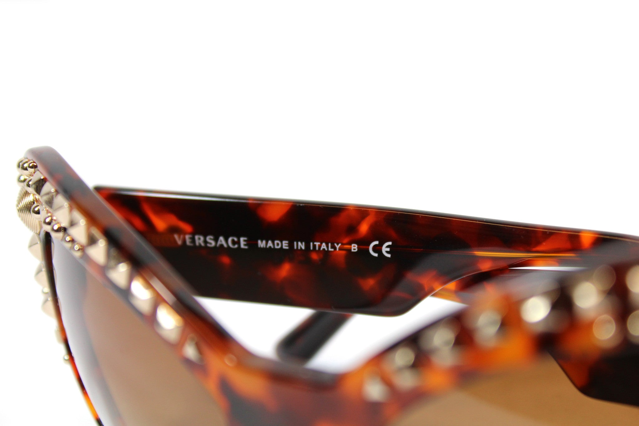 -done- Versace Round Tortoise Studded Glasses - Encore Consignment - 5