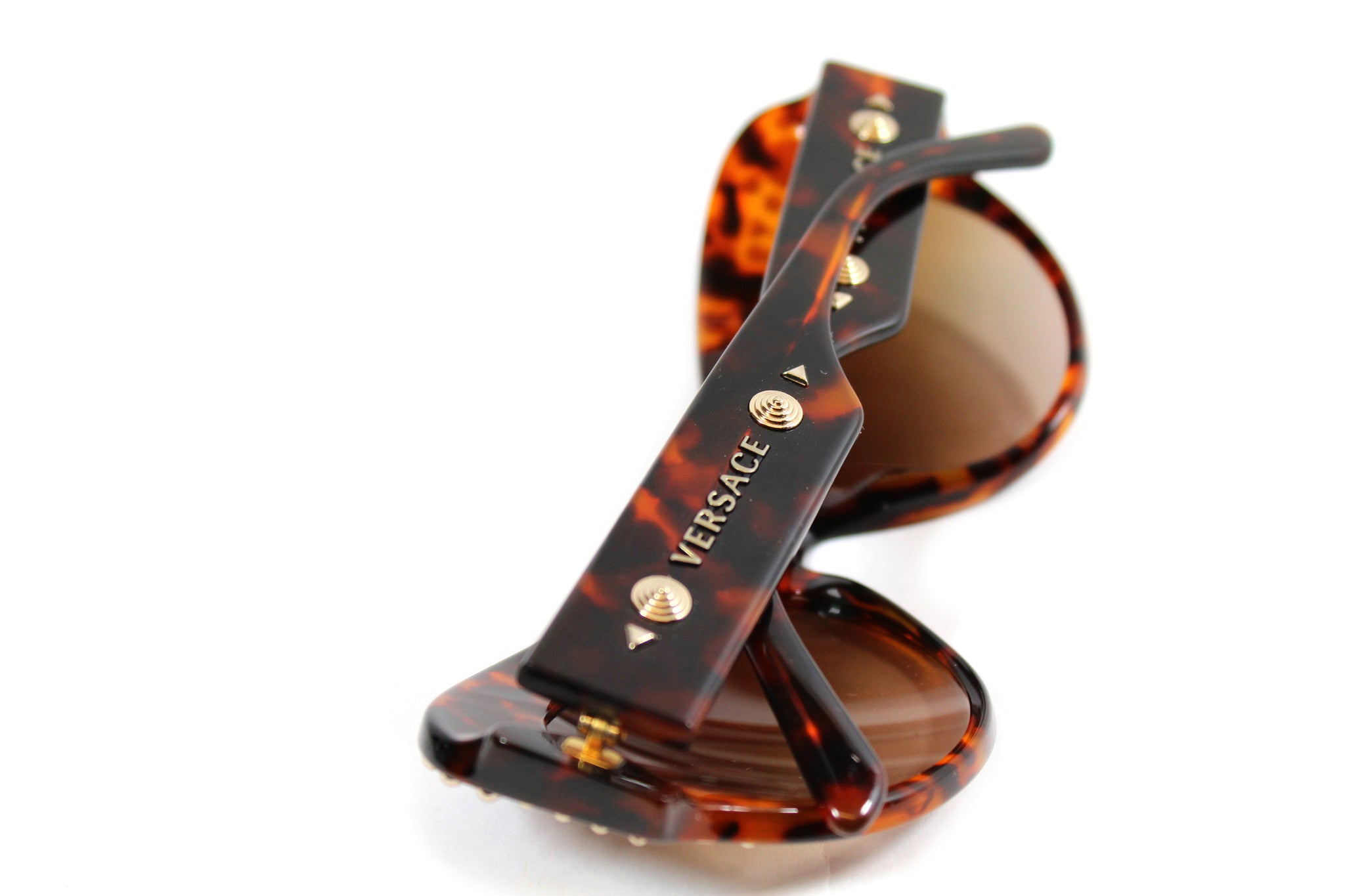 -done- Versace Round Tortoise Studded Glasses - Encore Consignment - 7