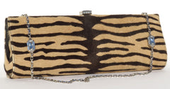 'Sold' JUDITH LEIBER Tan Brown Tiger Pony Fur Hair Calf Crystal Silver Chain Bag Clutch