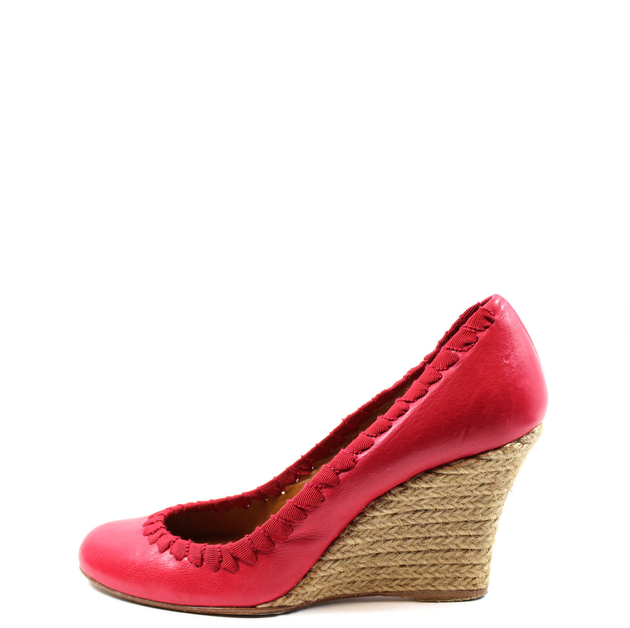 Lanvin Red Round Toe Wedges (Size 36)