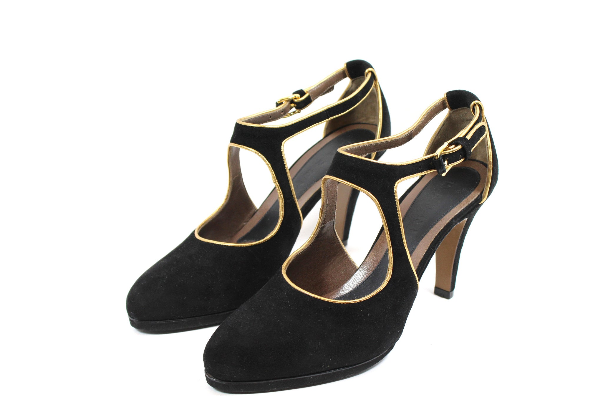 Marni Suede Pumps w/ Gold Trim (Size 38.5)