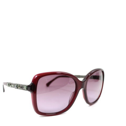 Chanel Burgundy 'Bijou' Crystal Sunglasses - 5308-B