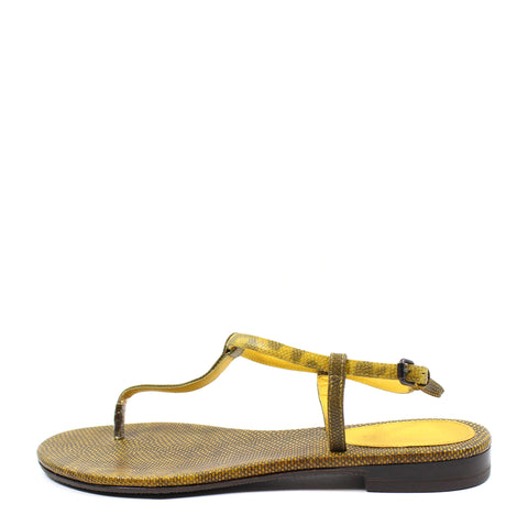 Bottega Veneta Yellow Lizard Flat Thong Sandal (Size 38.5)