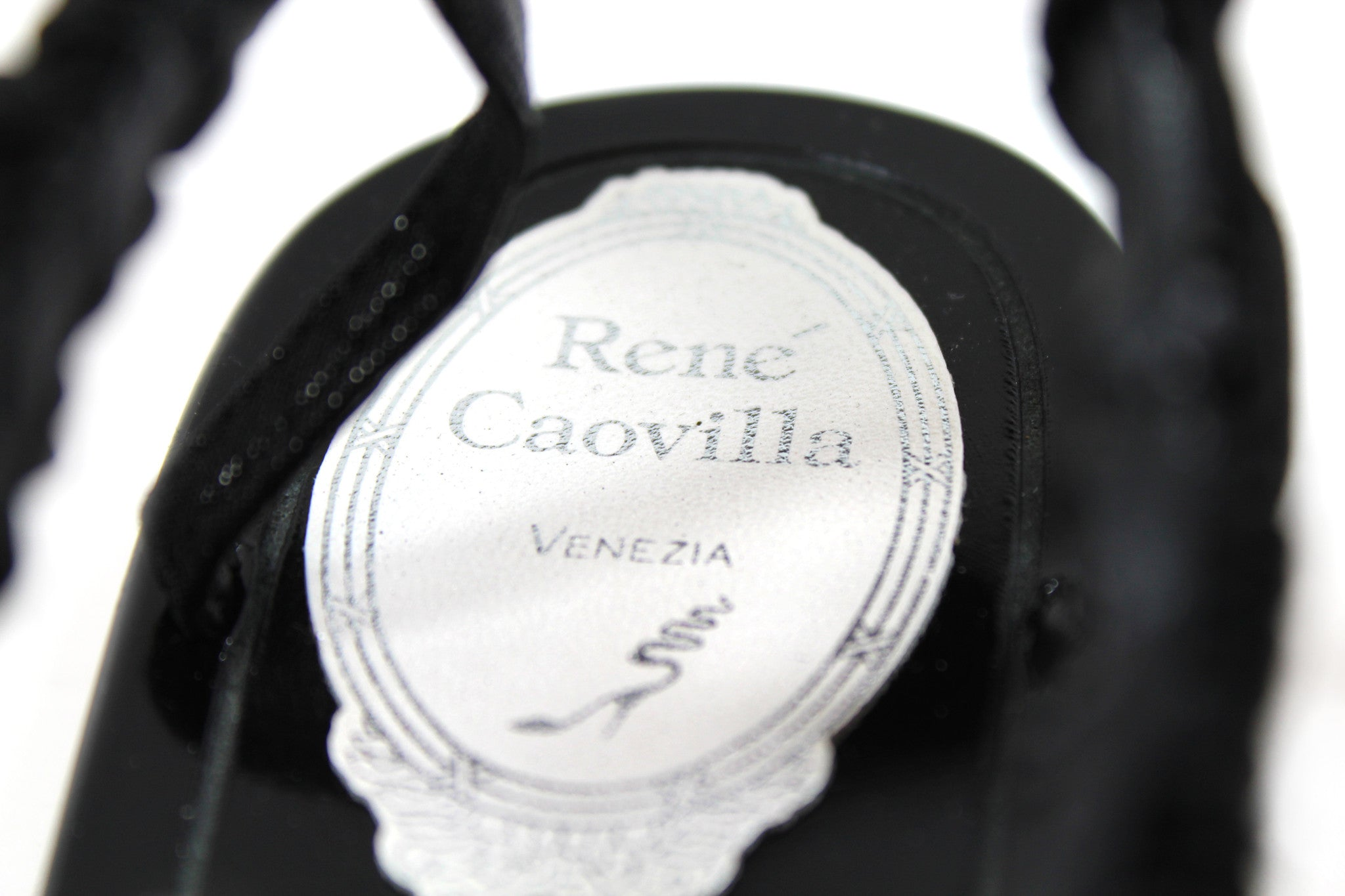 René Caovilla Black Thong Sandals w/ Pearl Stones and Satin Bow (Size 39)