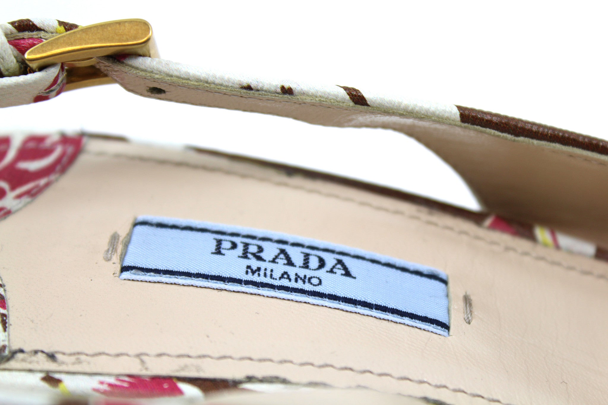 Prada Pointed-Toe Cream Leather Floral Sandal (Size 39)