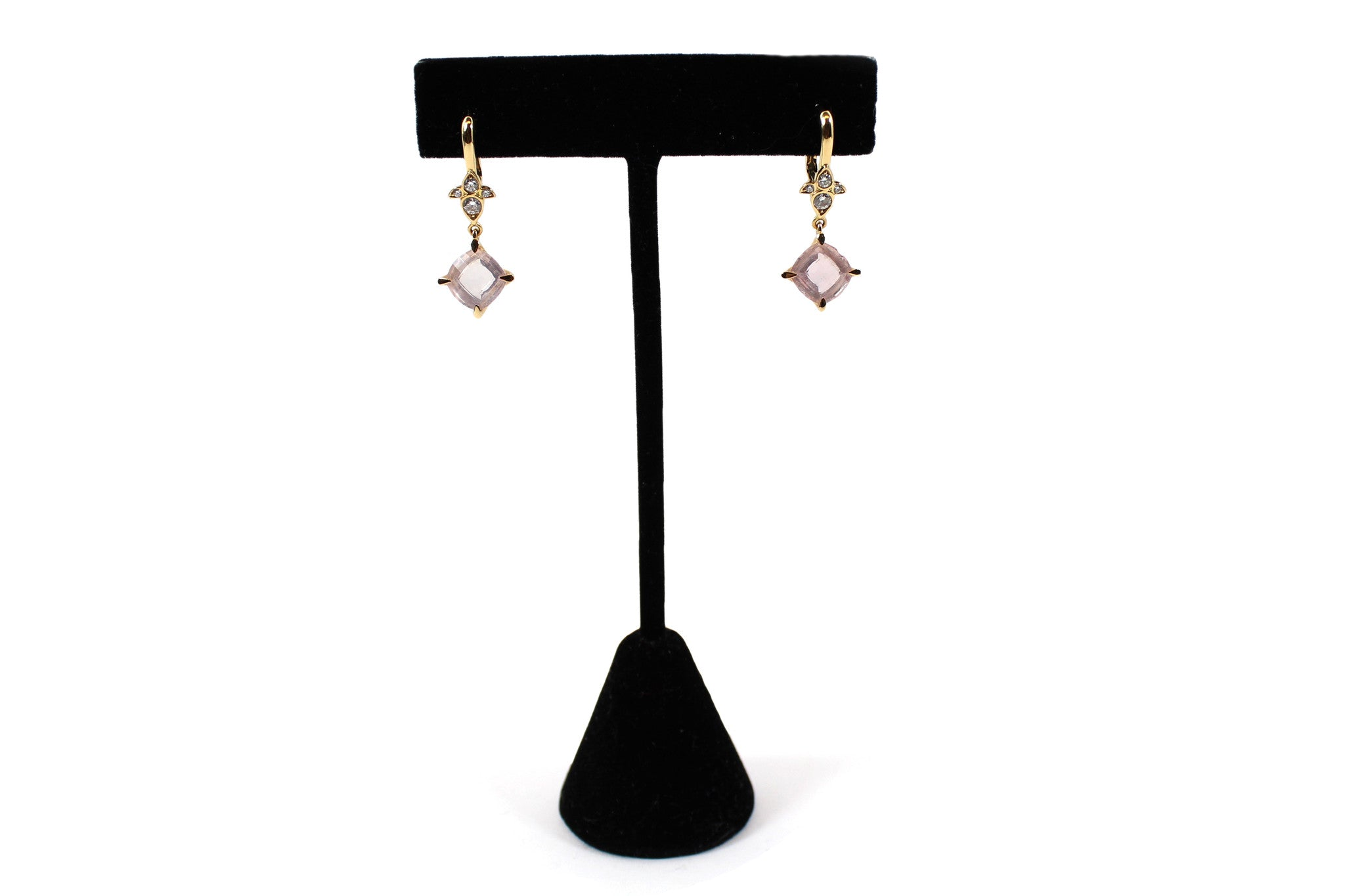 'SOLD' Cartier Pink Quartz & Diamond Inde Mysterieuse 'Lotus' Earrings w 18k Rose Gold