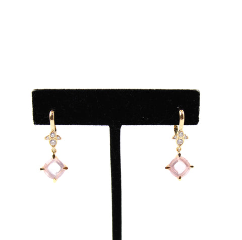 Cartier Pink Quartz & Diamond Inde Mysterieuse 'Lotus' Earrings w 18k Rose Gold
